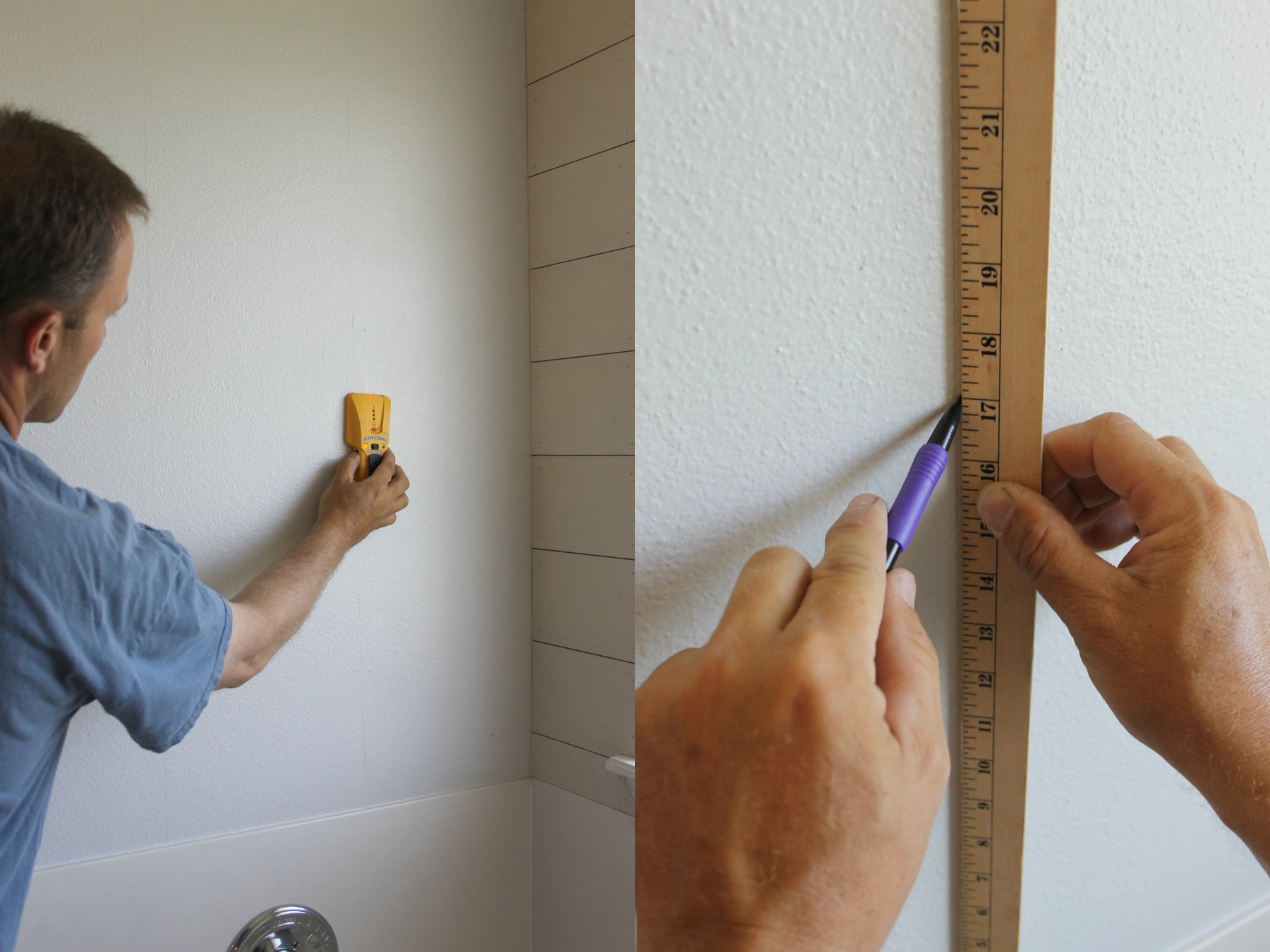 how to install a diy shiplap wall stud finder ruler