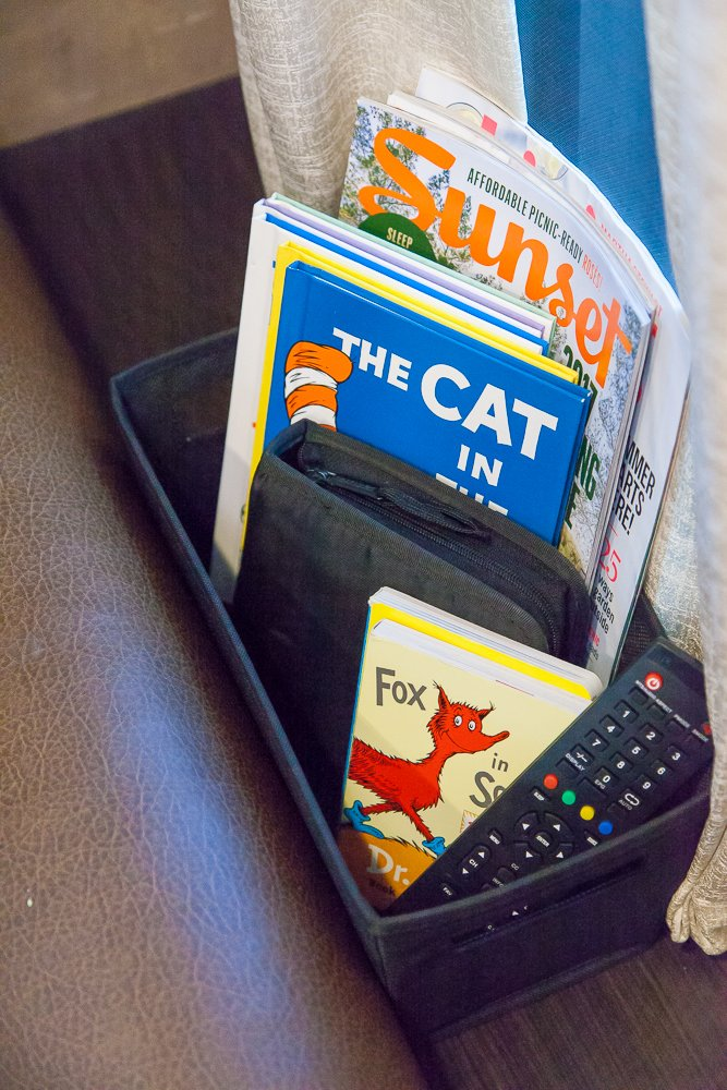 couch side basket remote books rv storage ideas