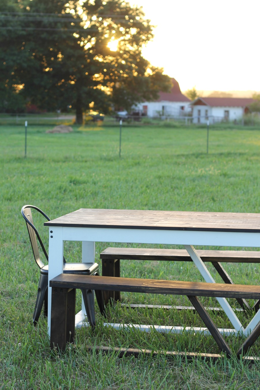 diy farmhouse table finished bench