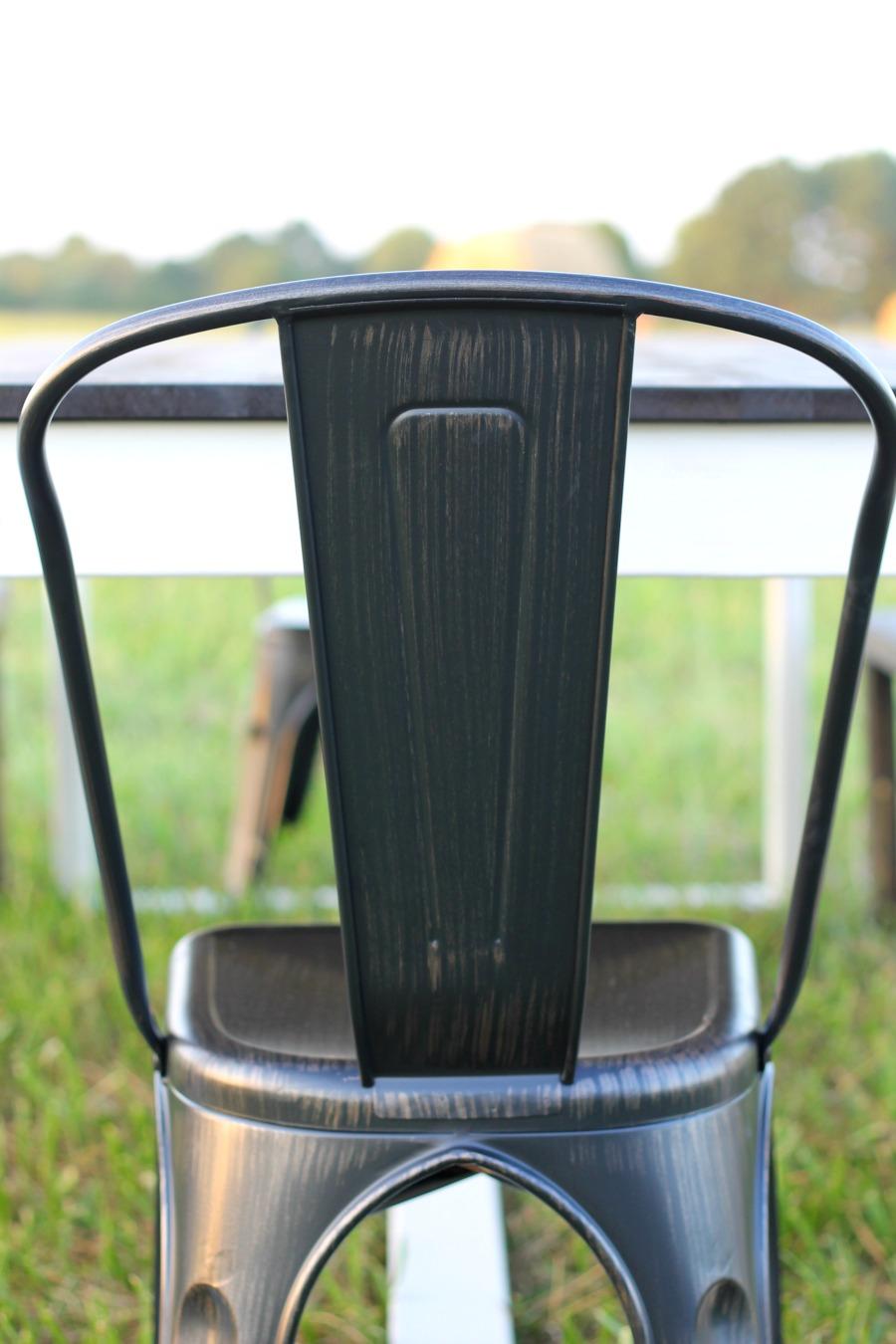 diy farmhouse table finished chair closeup
