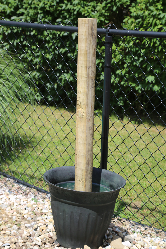 planter post black fence diy pool toy storage rack