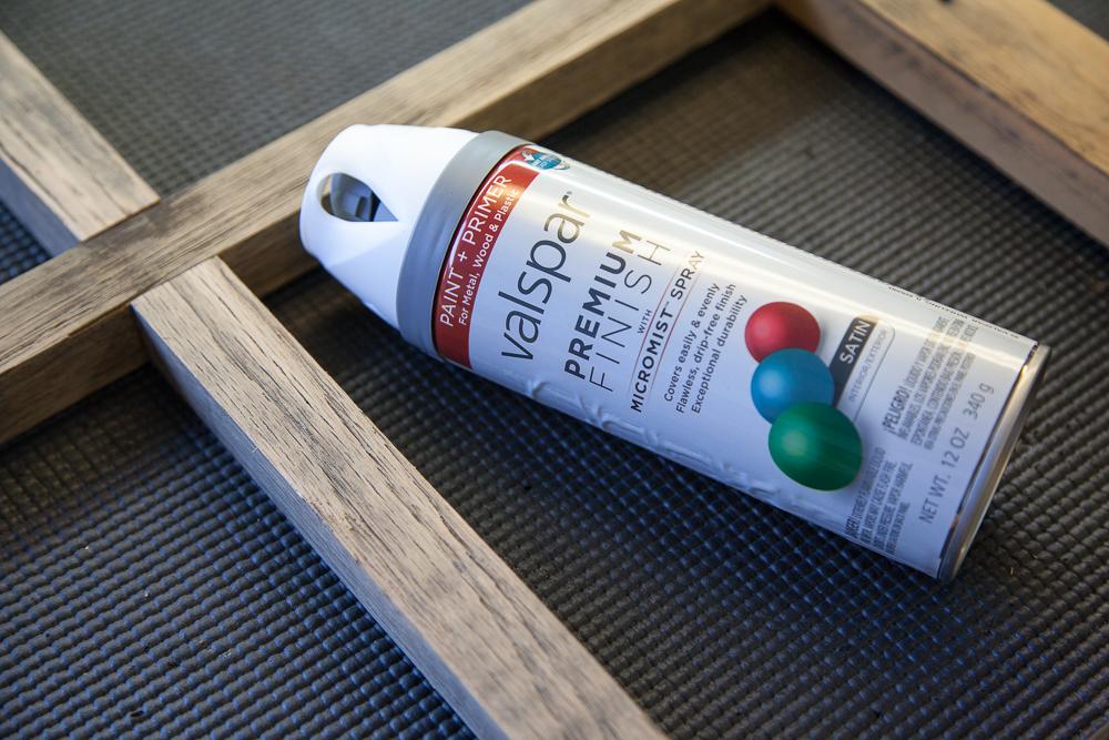 How to Build a DIY Window Frame - Farmhouse Style Decor, Vintage, Rustic - Valspar spray paint to distress