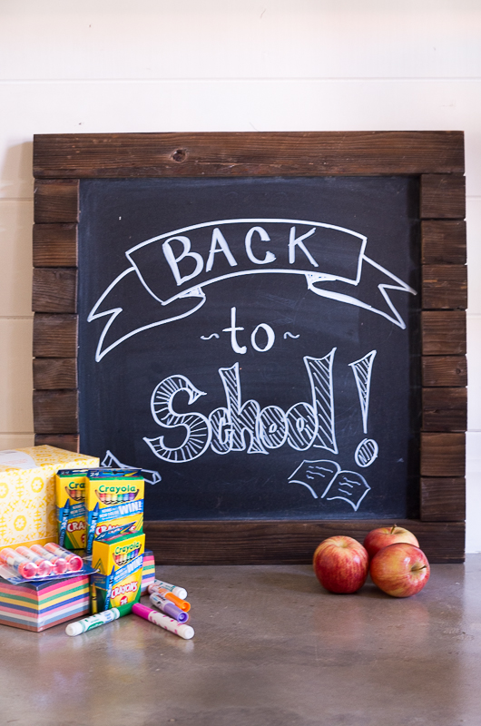 How to Organize School Supplies and Save Money - chalk board and apples