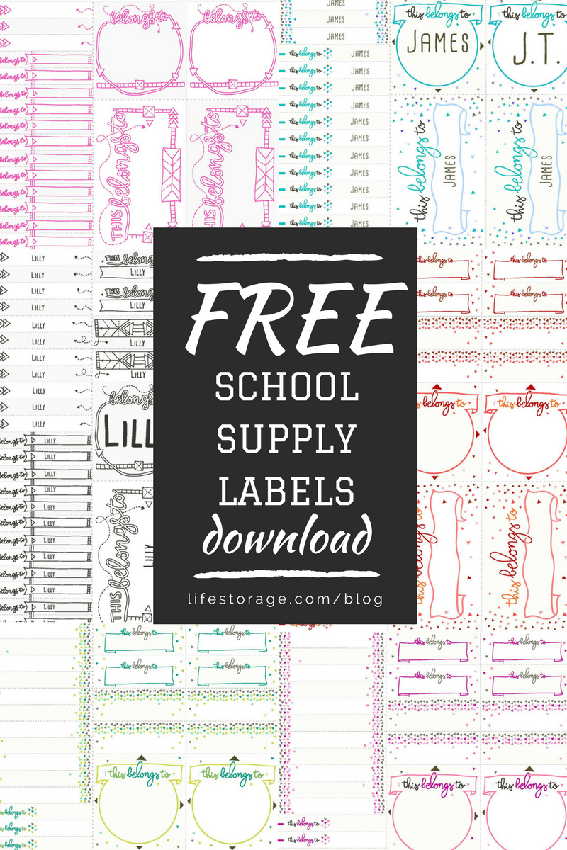 how to organize school supplies - download free printable school supply labels