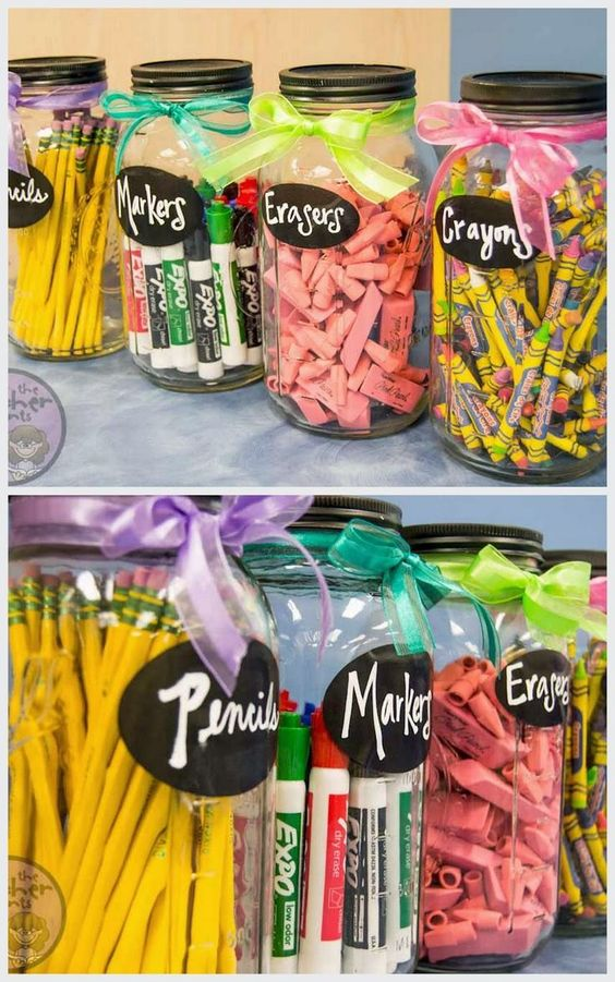 How to Organize School Supplies and Save Money - Mason jars with labels
