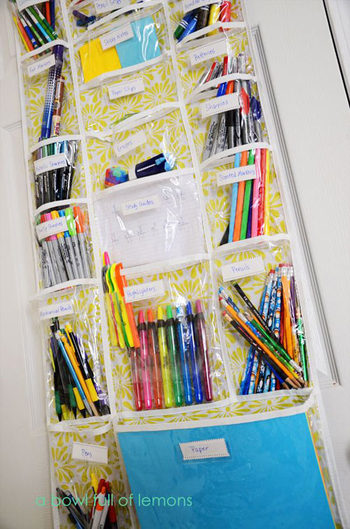 How to Organize School Supplies and Save Money - over the door shoe organizer