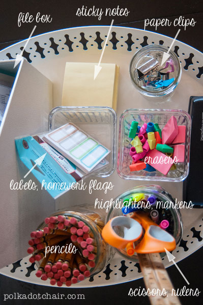 How to Organize School Supplies and Save Money - a tray to hold all school supplies