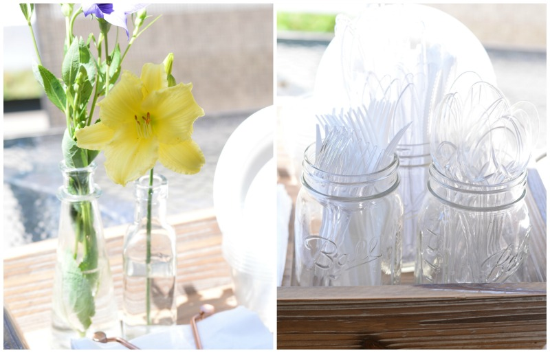 party planning checklist hack - place cutlery in decorative jars and trays to be ready at a moment's notice.