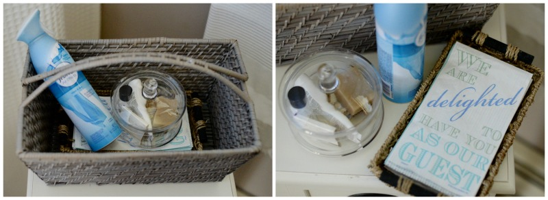 party planning checklist - bathroom guest basket with essential toiletries