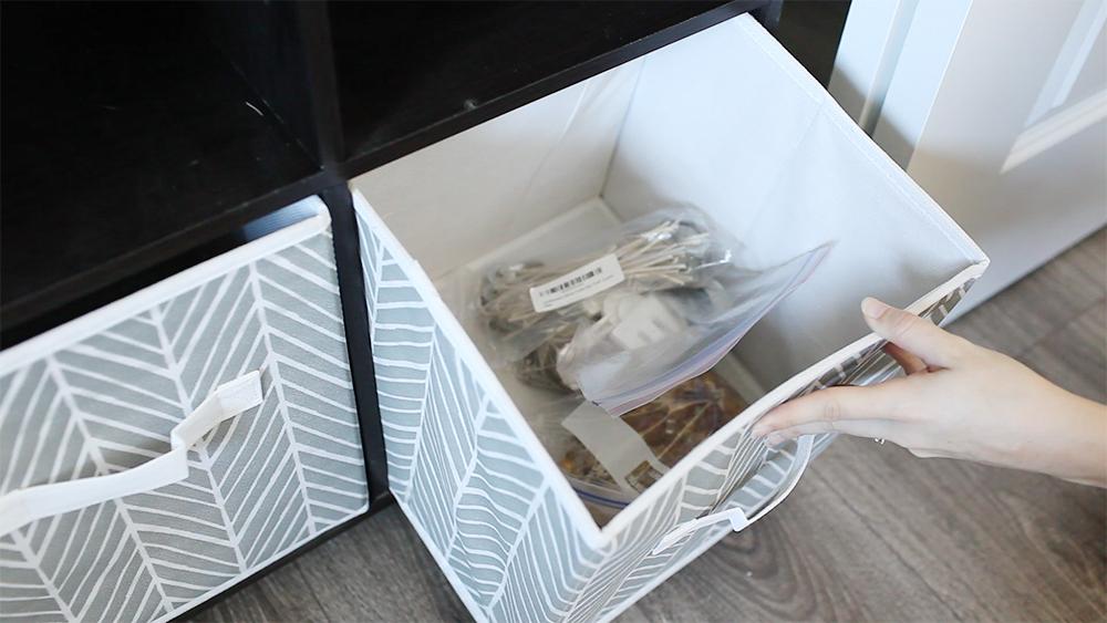 fabric bins for craft closet organization