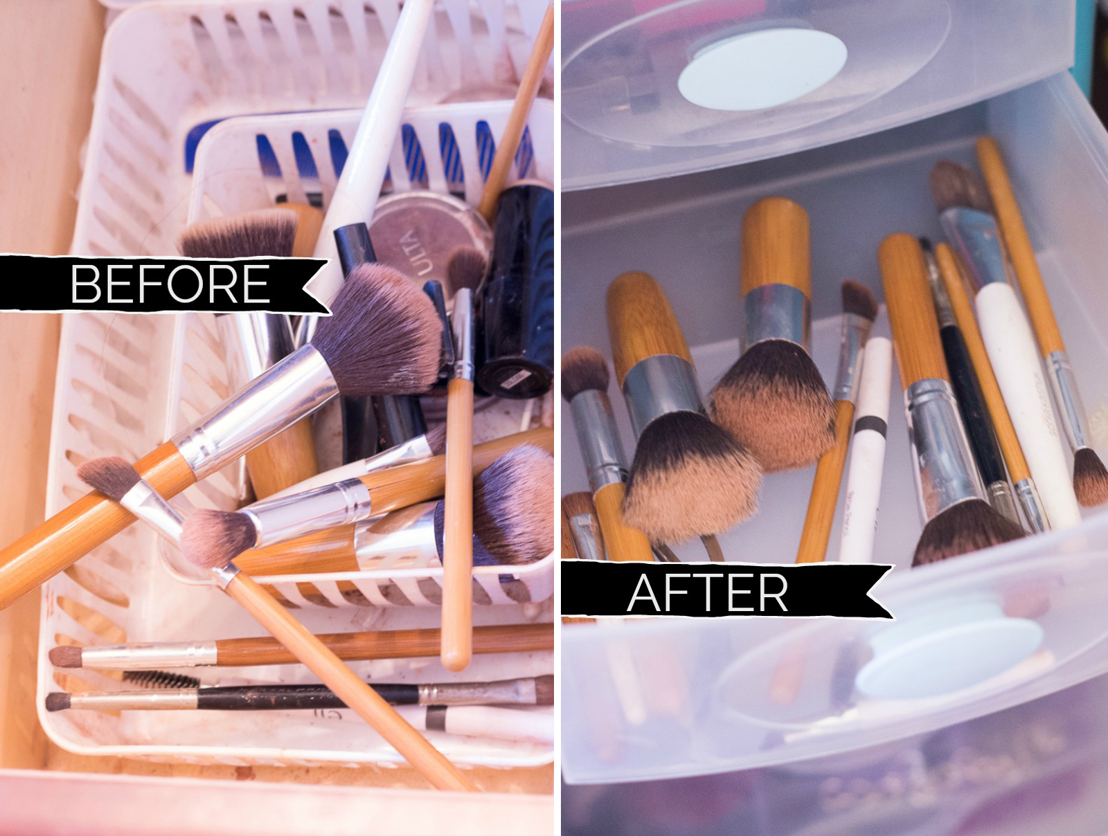 Bathroom Organization Ideas: Organize makeup brushes in small plastic drawers