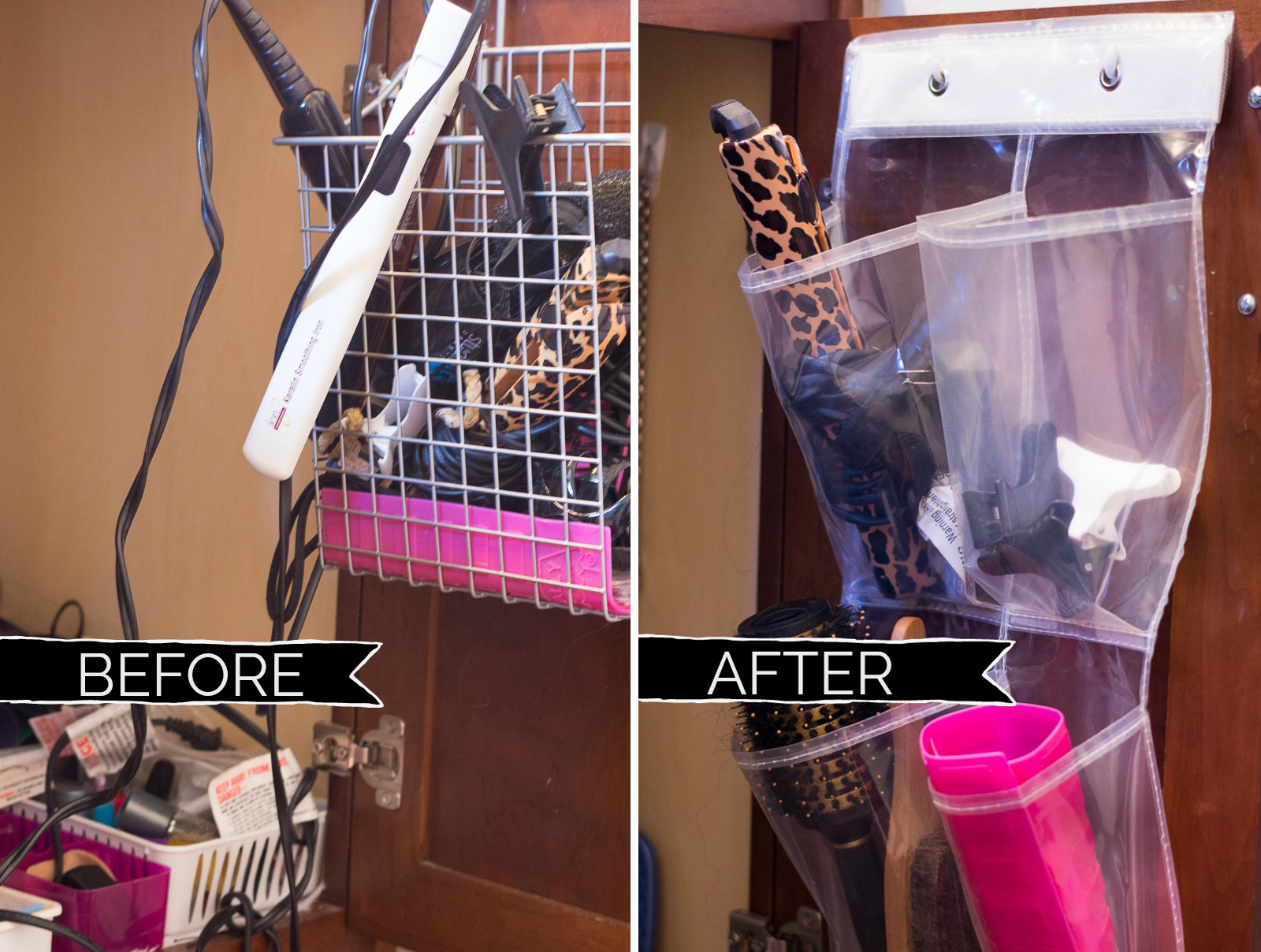 Bathroom Organization Ideas: DIY door organizer for flat irons and hair supplies (before and after)