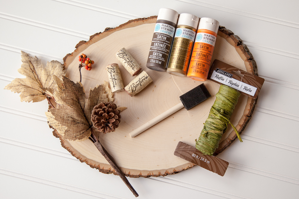 Outdoor Fall Decorating Ideas - wood slice diy pumpkin supplies paint leaves twine corks