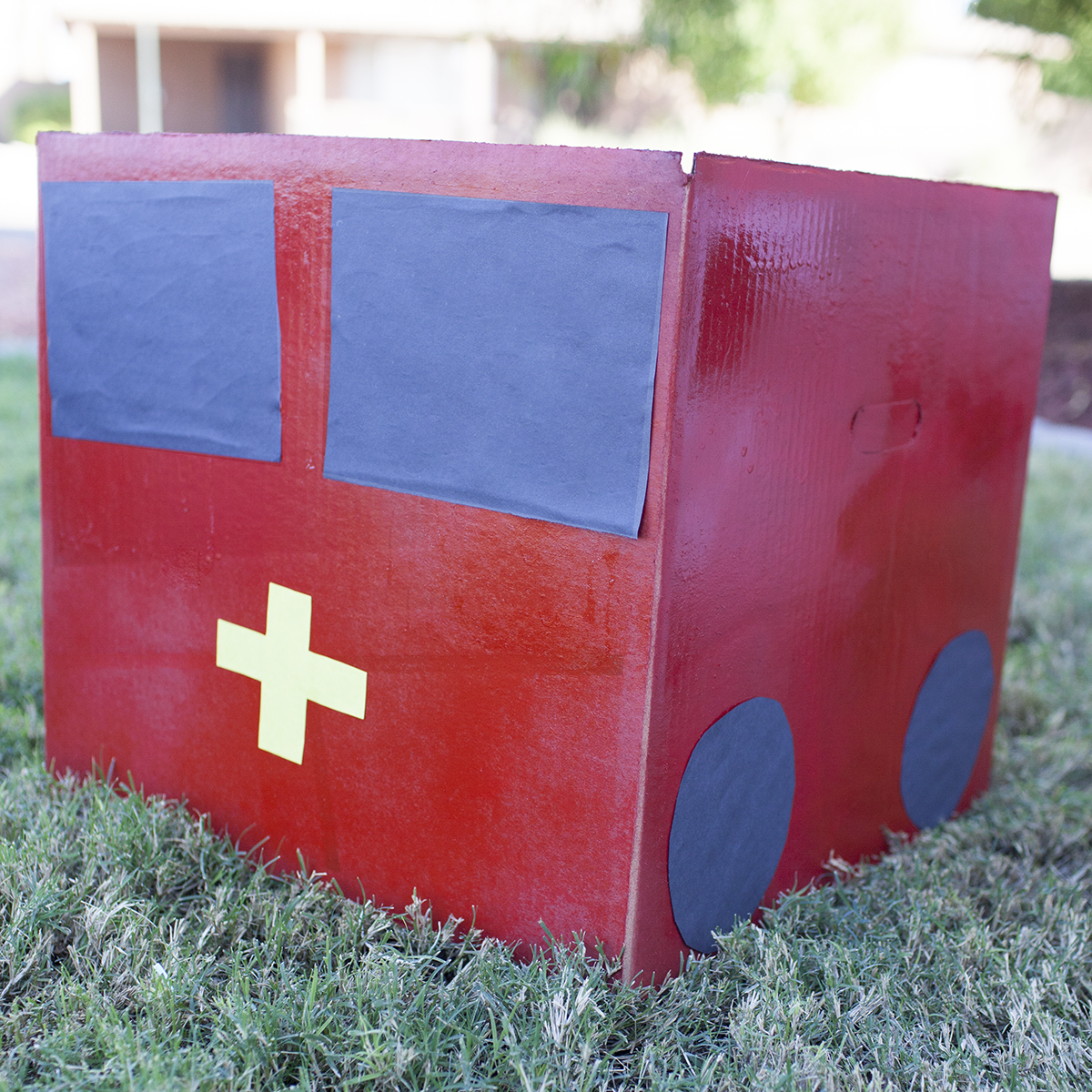 Cardboard box fire truck costume Halloween