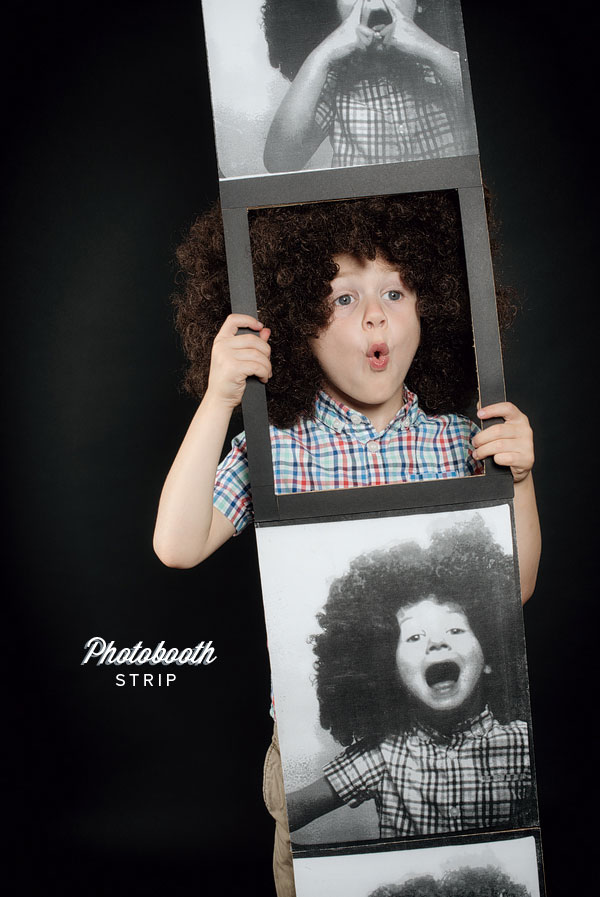 Cardboard box costume photobooth strip Halloween