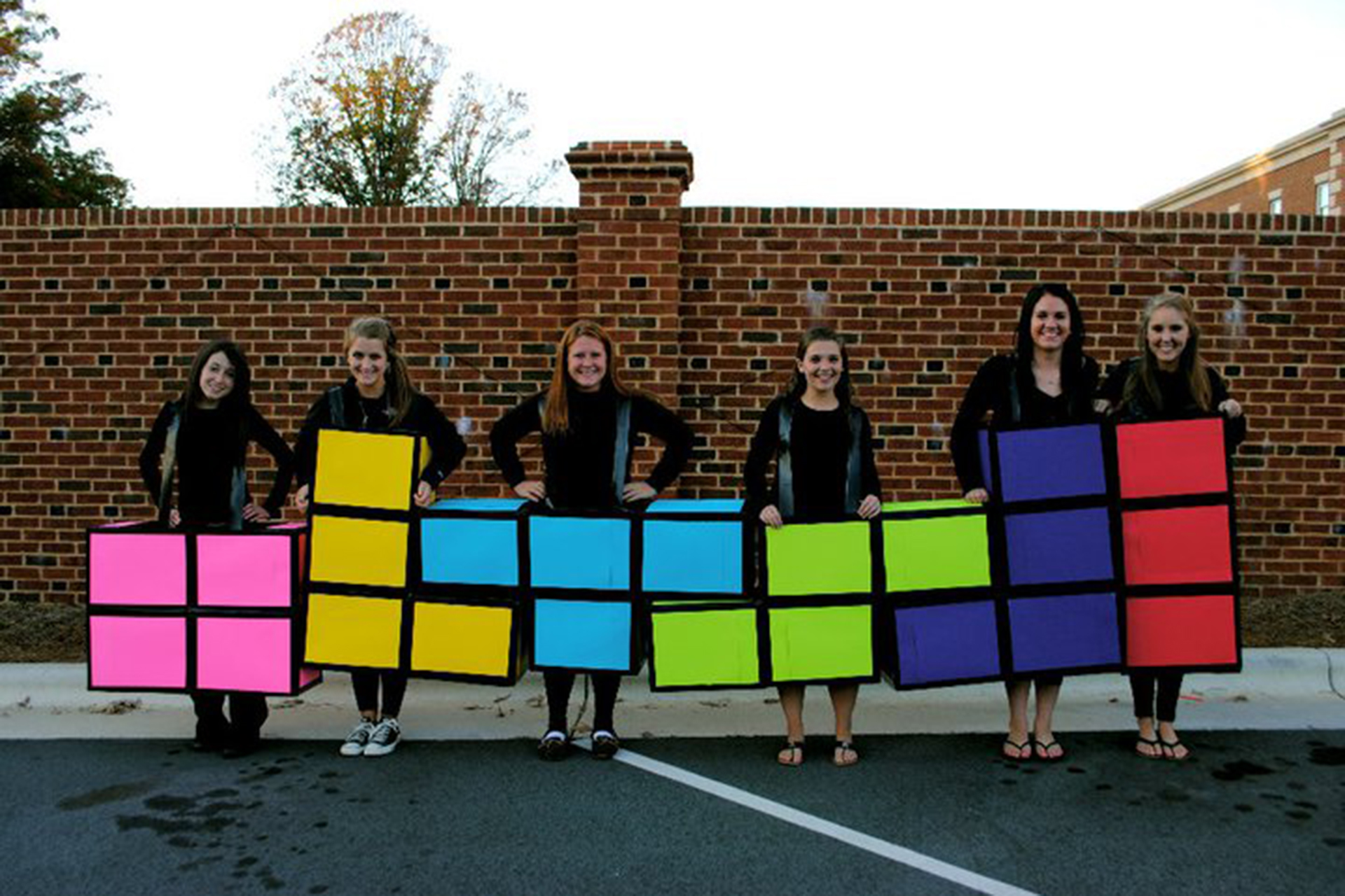Cardboard box Halloween costume ideas tetris group costume