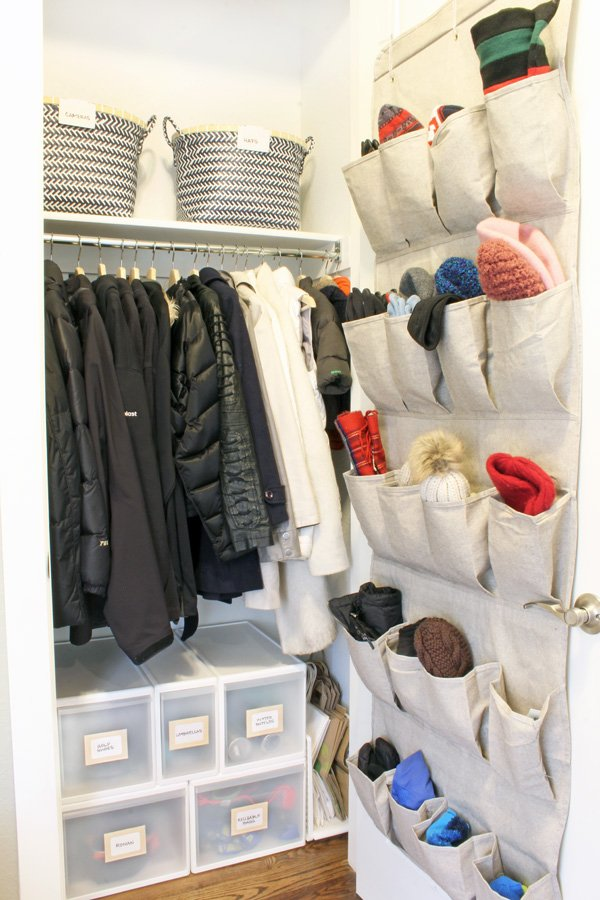 Hall Closet Organization And Storage Ideas: Behind The Door Shoe Organizer  For Mittens And Gloves