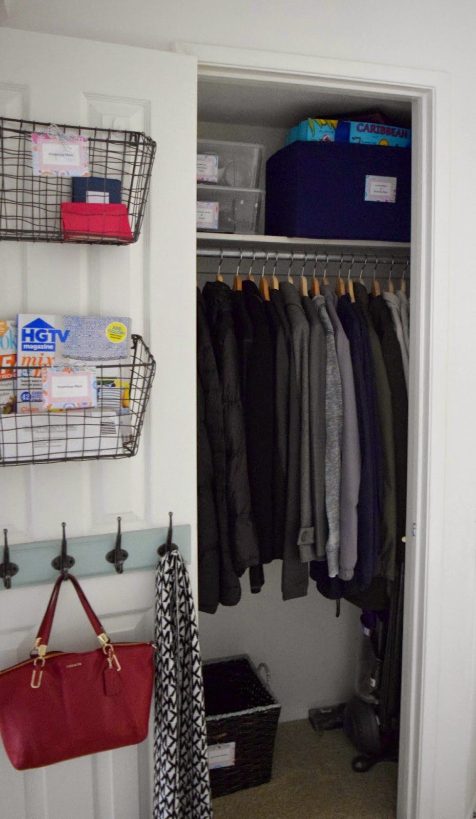 Hall Closet Organization And Storage Ideas: Behind The Door Mail Organizer
