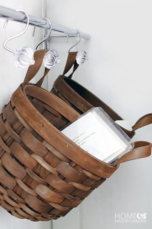 hall closet organization and storage ideas - hang basket cleaning supplies closet