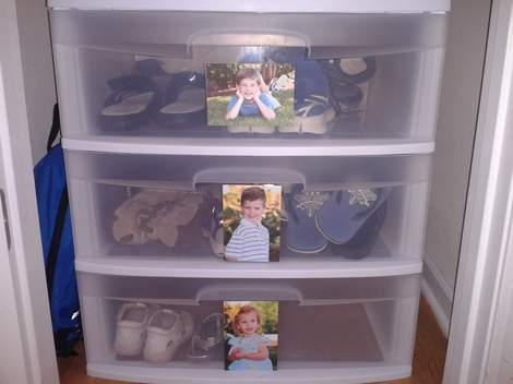 hall closet organization ideas and hall closet storage ideas - shoes organized in hall closet in a plastic drawer container