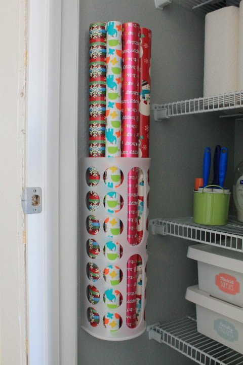 hall closet organization ideas and hall closet storage ideas - wrapping paper organier