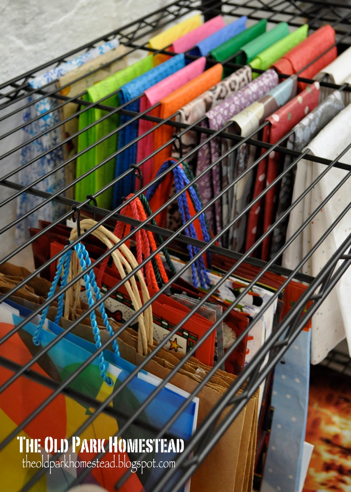 hall closet organization ideas and hall closet storage ideas - gift bag organization wire rack