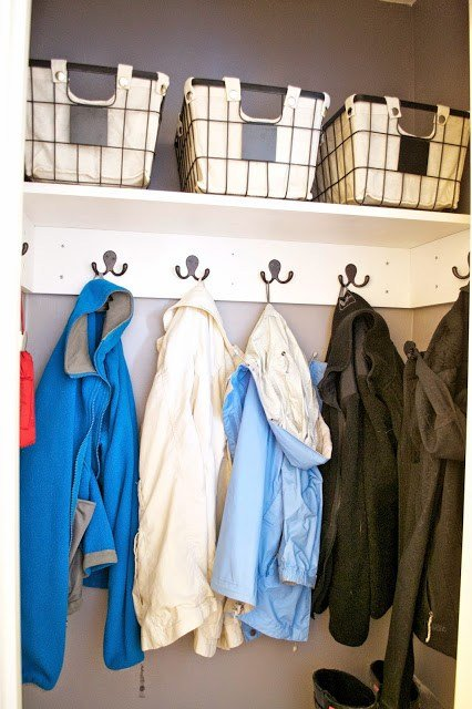 hall closet organization ideas and hall closet storage ideas - hooks instead of hangers