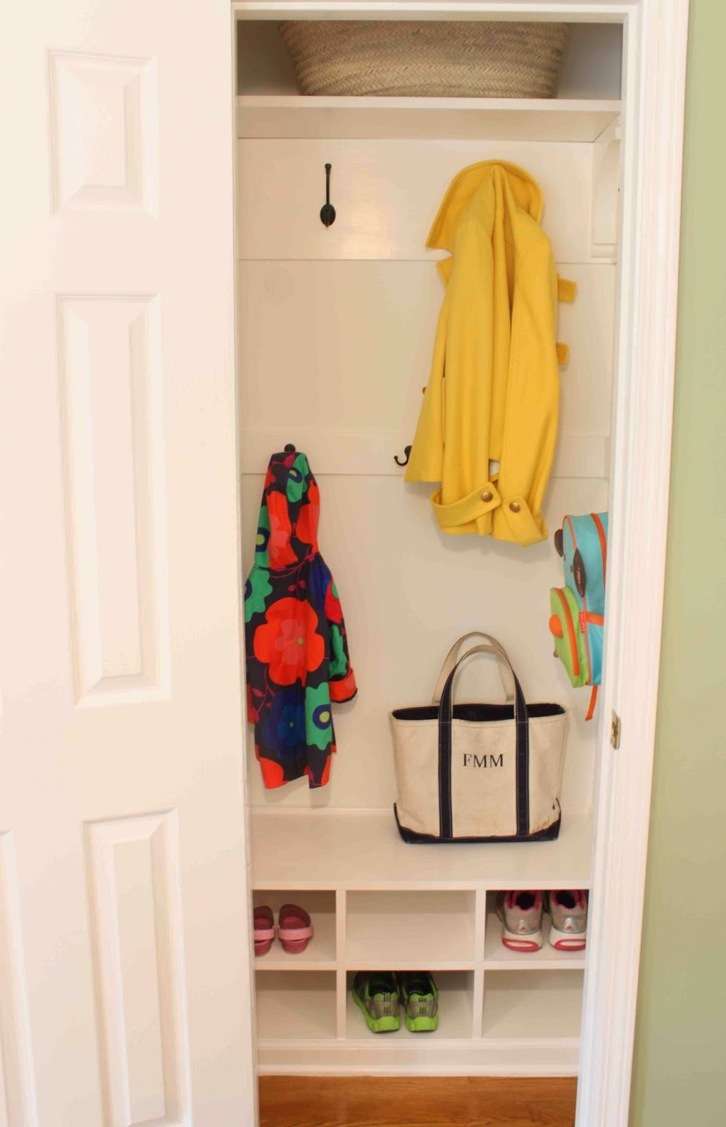 hall closet organization ideas and hall closet storage ideas - add shelving and cubicles