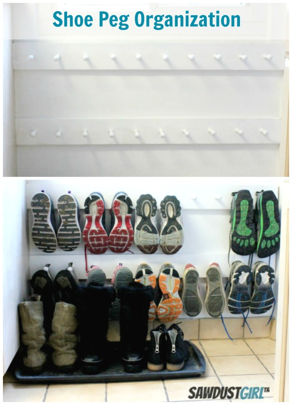 hall closet organization ideas and hall closet storage ideas - organized shoe storage after peg