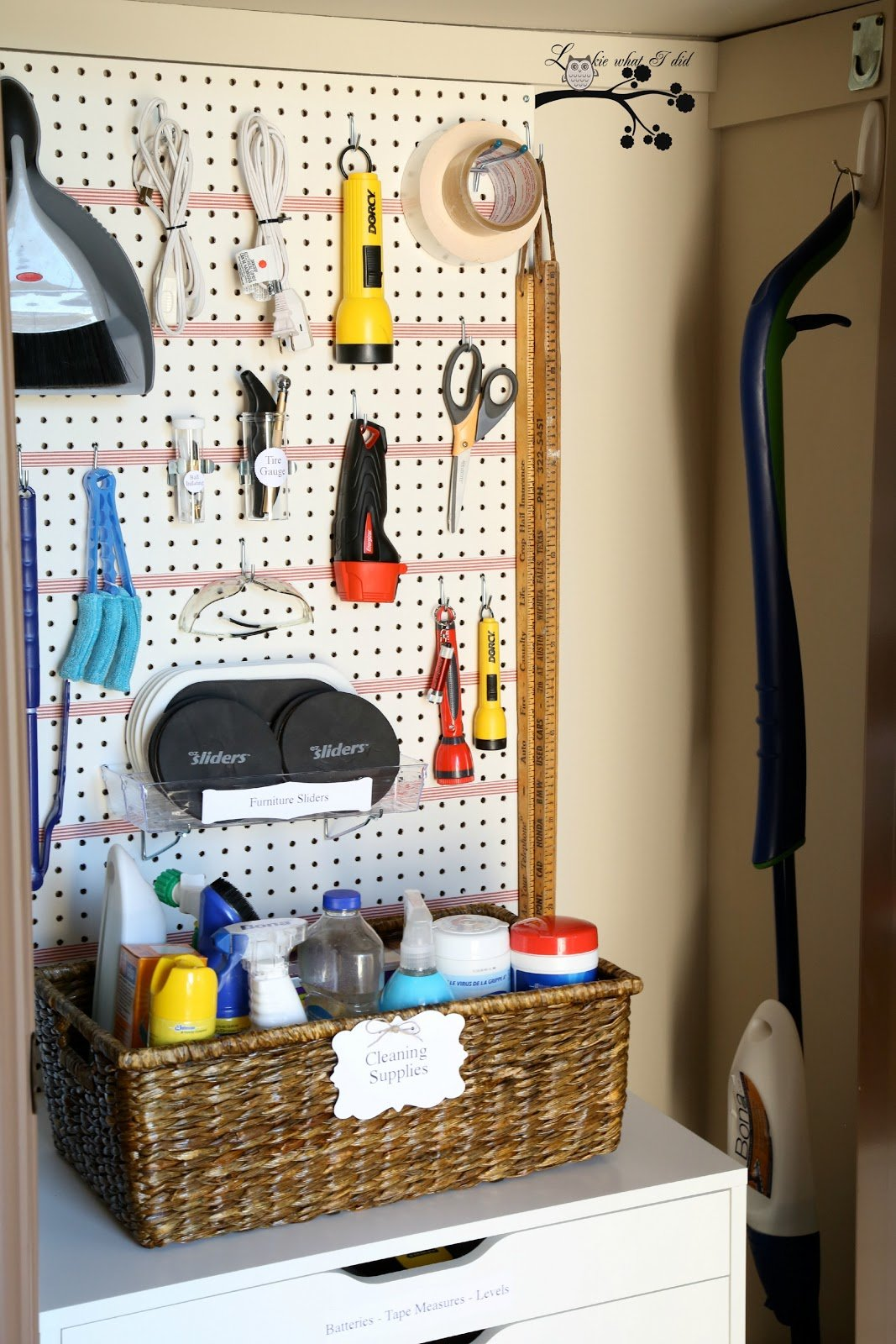 hall closet organization ideas and hall closet storage ideas - utility closet tool pegboard organizer