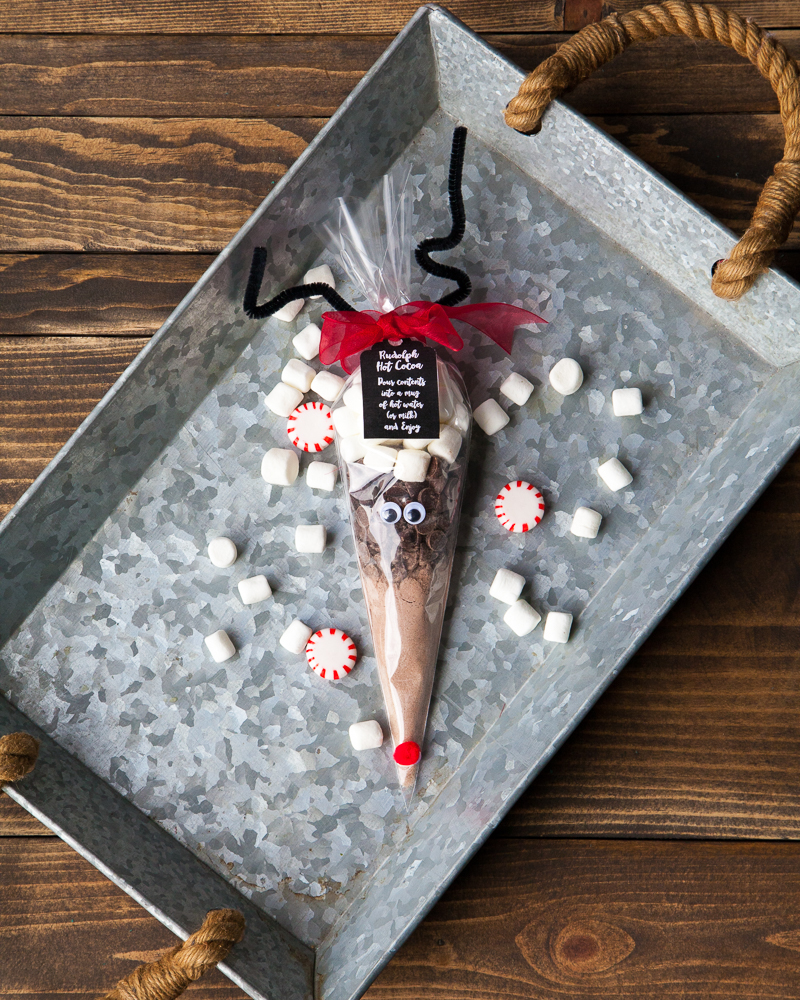 DIY stocking stuffer class teacher gift reindeer hot cocoa treat bag