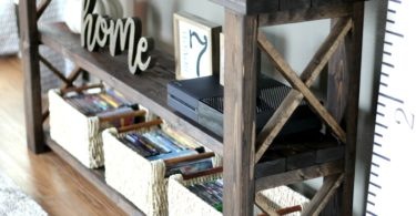 Life Storage DIY console table for adding storage in your home