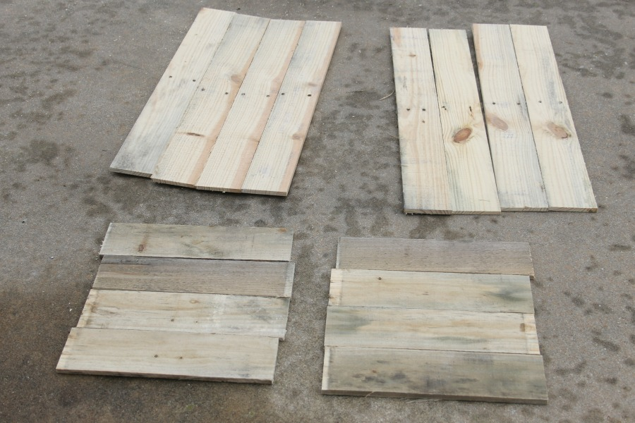 cut pallet wood to size for crate DIY