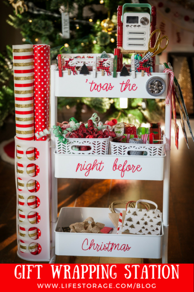 Gift wrapping station idea inspiration cart wheels