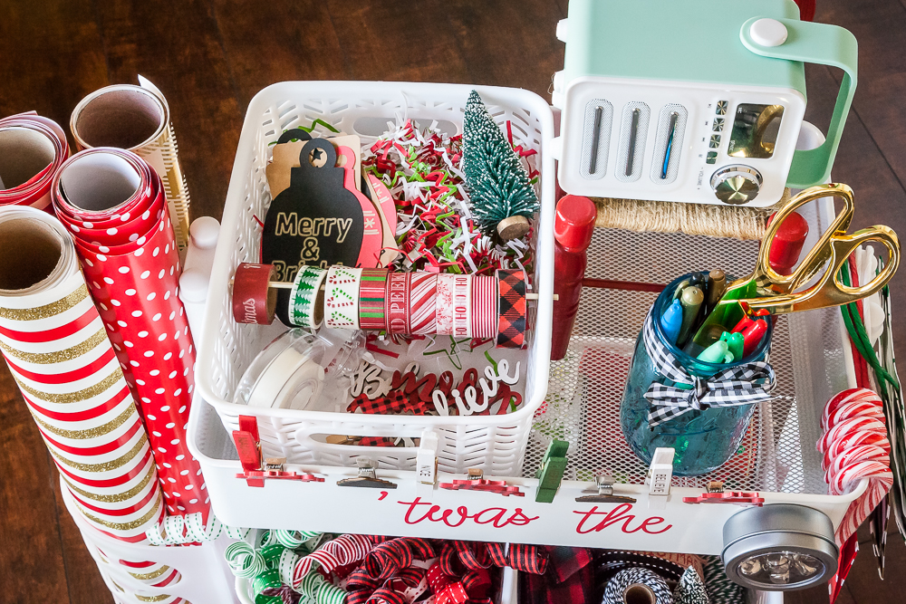 top shelf tiered cart gift wrapping station wheels