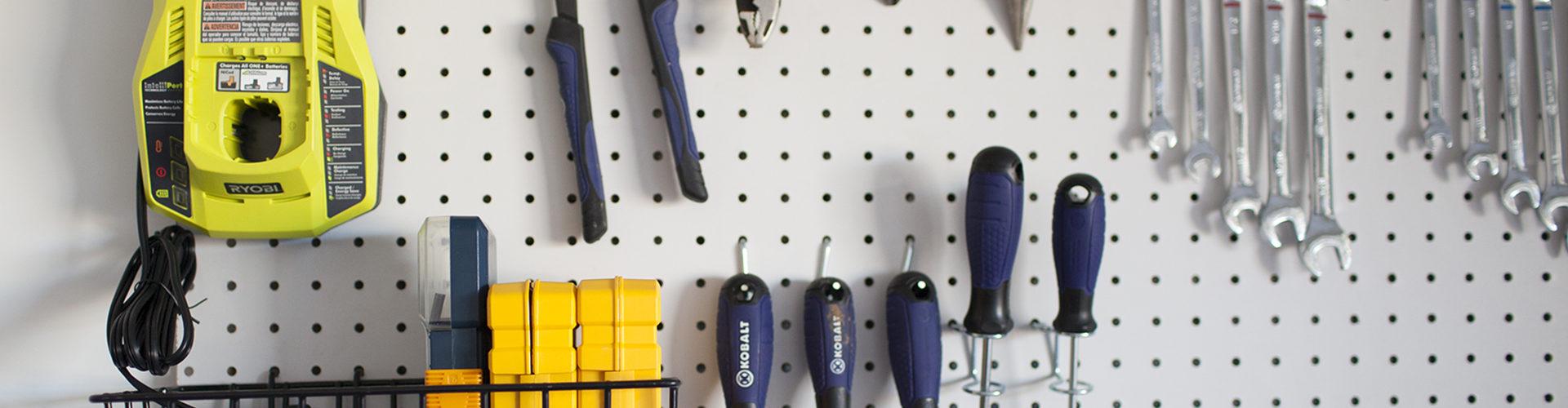 DIY garage pegboard yellow tools