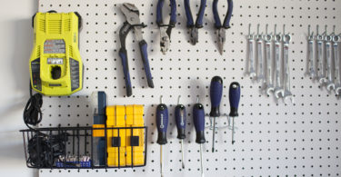 DIY garage pegboard yellow tools