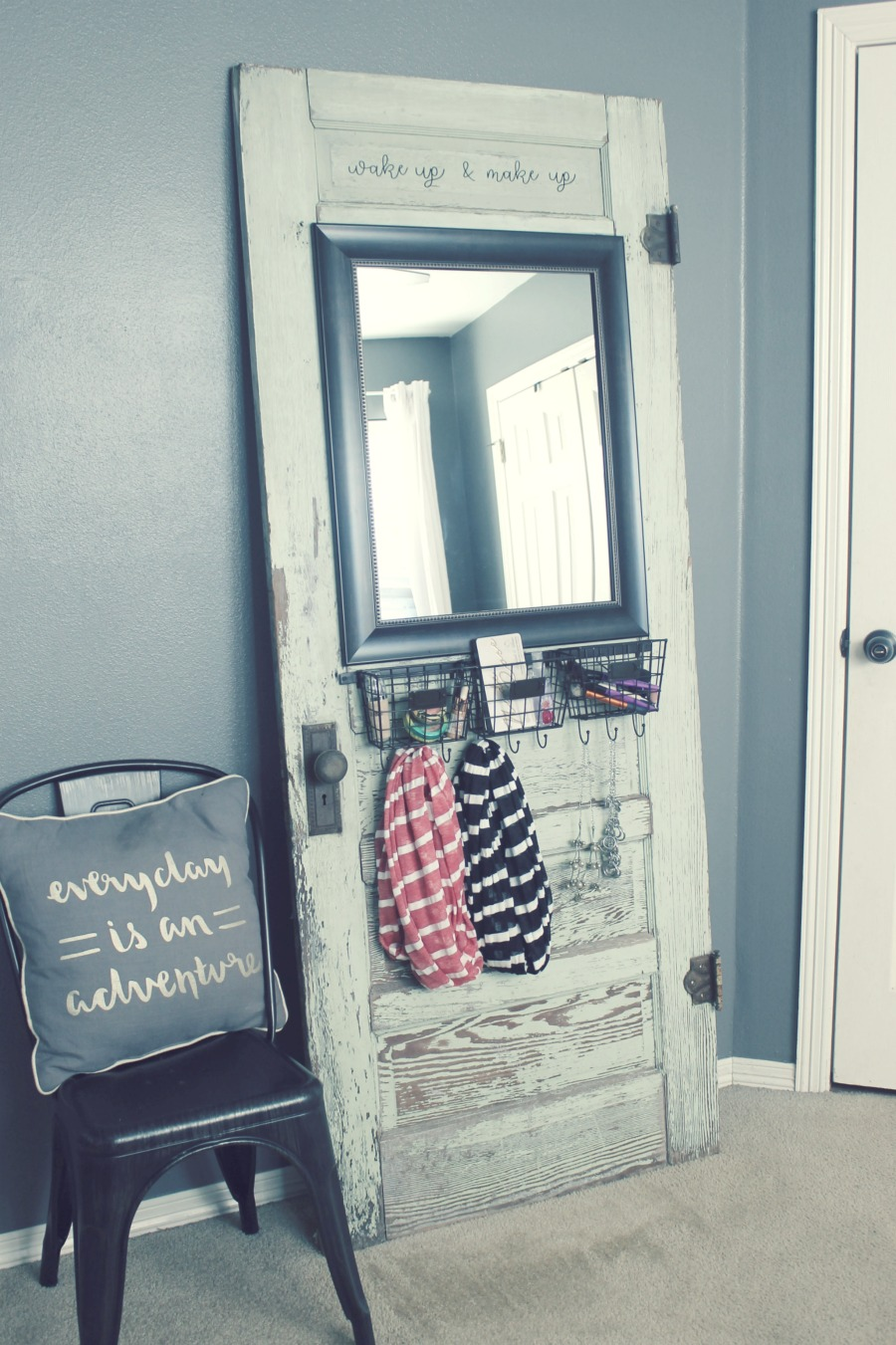 DIY makeup station upcycled old door