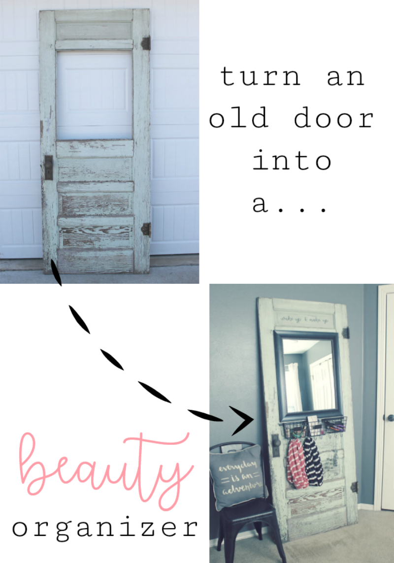 How to upcycle an old vintage door into a DIY makeup station