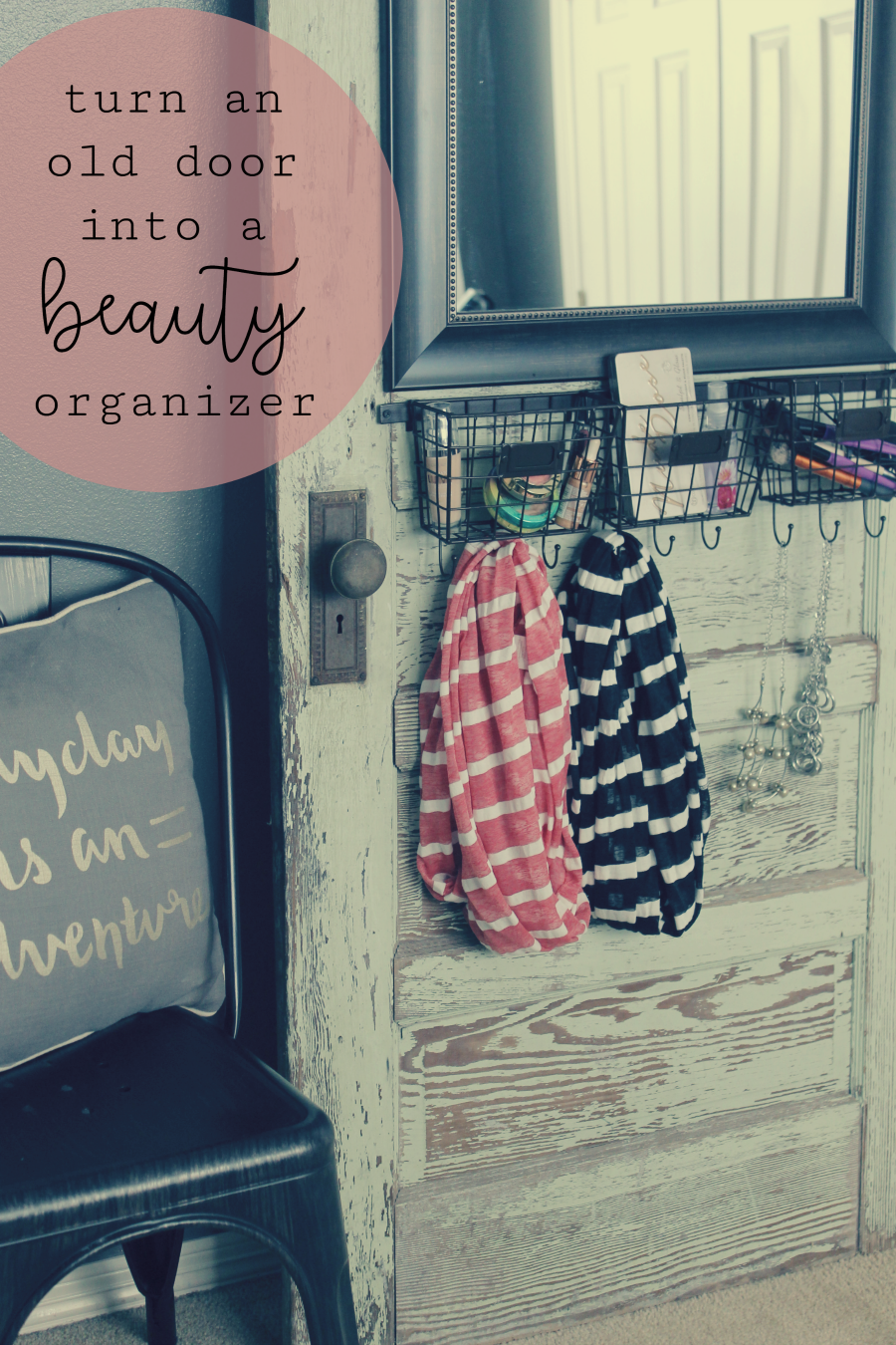 Turn an old door into a DIY makeup station beauty product organizer for bedroom or bathroom
