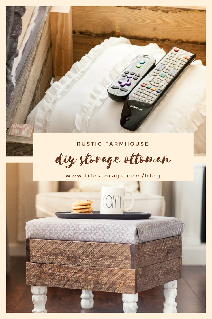 Pin for farmhouse diy storage ottoman made of wood