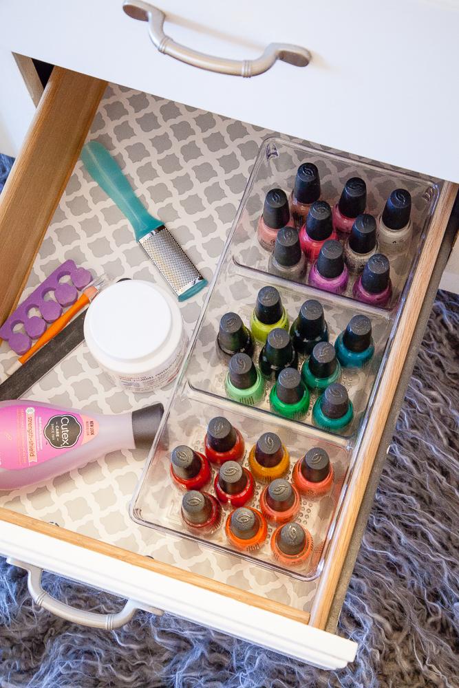 Nail Polish Organizer - Bathroom Storage Ideas