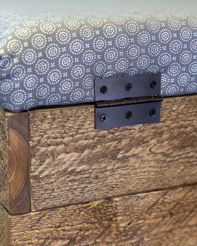 Black hinges on farmhouse DIY storage ottoman