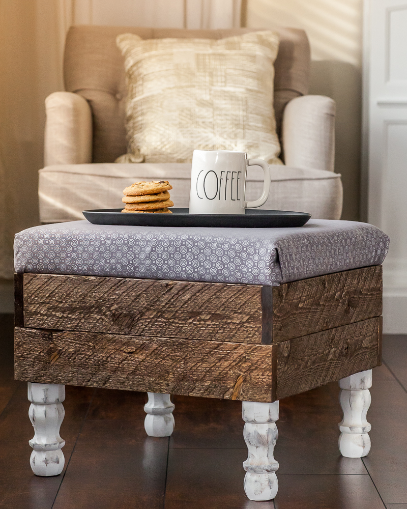 farmhouse diy storage ottoman made of wood with coffee and cookies on top