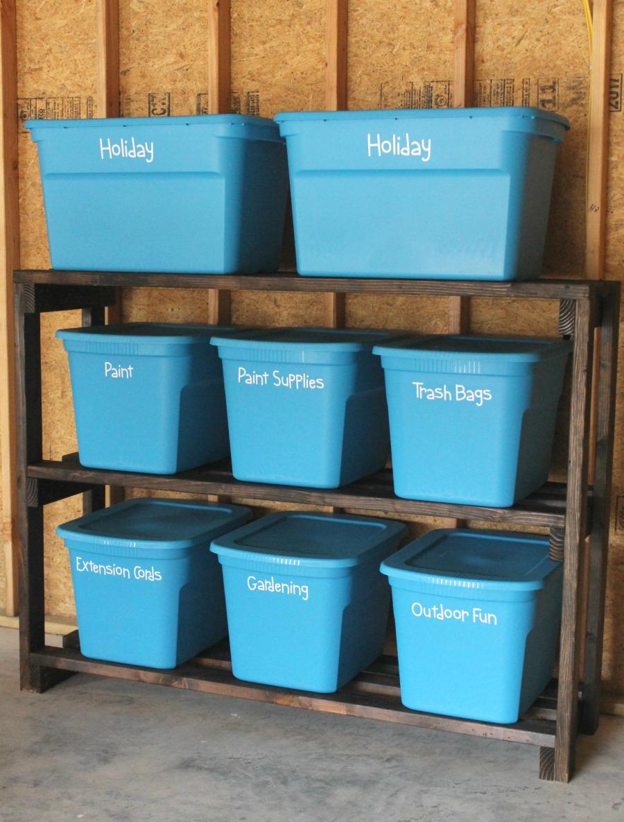 DIY Garage Storage Shelves - Blue Totes on Garage Shelves