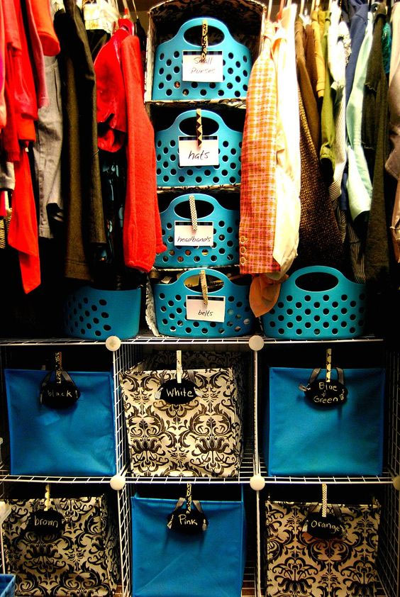 DIY closet organization ideas on a budget: use baskets and bins to organize loose items like hats and accessories.