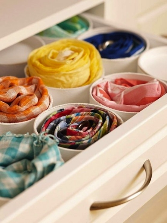 DIY closet organization ideas on a budget: use PVC pipe cut to the size of your drawers to organize socks, bras, underwear, ties and scarves.