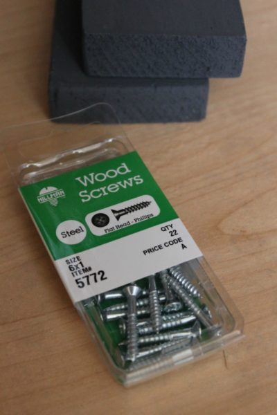 Make sure the screws you choose for this project are long enough. These 6x1 steel flat head phillips wood screws were almost too short, but worked!