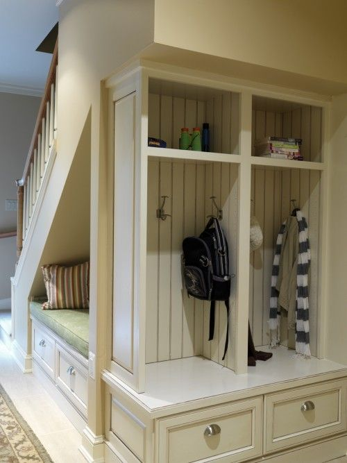 Under the Stair Storage Closet Turned Mudroom