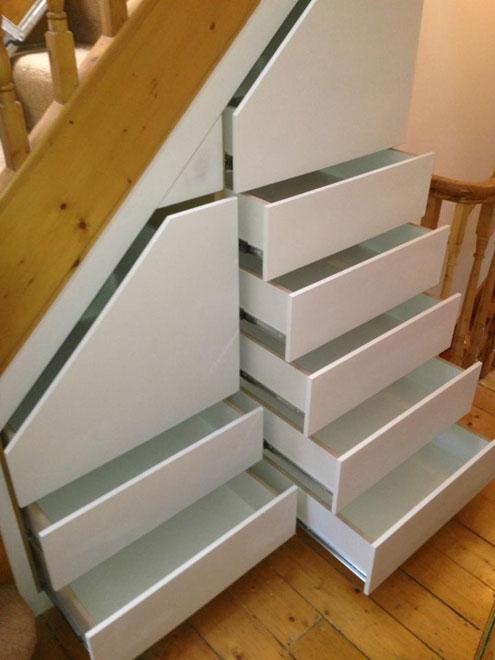 Under the Stairs Storage Closet - Multipurpose drawer storage
